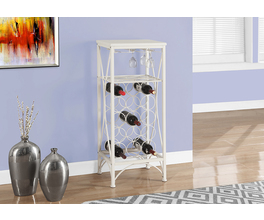 HOME BAR - 40H / WHITE METAL WINE BOTTLE AND GLASS RACK