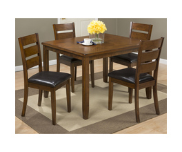 5 PACK - TABLE AND 4  LADDERBACK BACK CHAIRS W/ FAUX LEATHER SEAT PACKED IN ONE CARTON.  CHAIRS MEASURE 17X21X37.