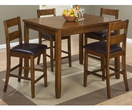 5 PACK - TABLE AND 4  LADDERBACK BACK CHAIRS W/ FAUX LEATHER SEAT PACKED IN ONE CARTON.  CHAIRS MEASURE 18X19X39.
