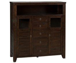 CABINET W/5 DRAWERS AND 2 CABINET DOORS W/GLASS INSERTS- ASSEMBLED