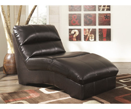 CHAISE-STATIONARY LEATHER-DURABLEND - CHOCOLATE