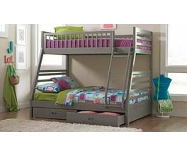 TWIN/FULL BUNK BED (GREY)