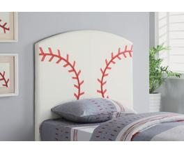 BASEBALL HEADBOARD (WHITE AND RED)