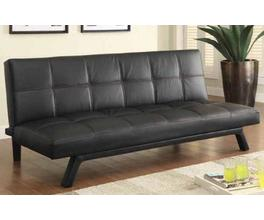 SOFA BED (BLACK W/ RED STITCHING)