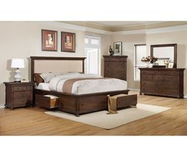 KING STORAGE HEADBOARD-JAVA RUSTIC