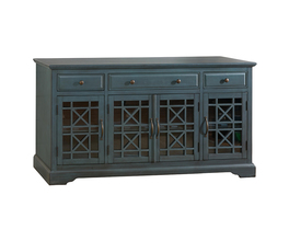 60 MEDIA UNIT W/4 GLASS DOORS AND 3 DRAWERS- ADJ SHELVES, WIRE MANAGEMENT