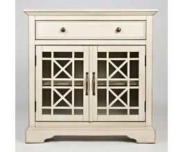 32 ACCENT CABINET W/2 GLASS DOORS, DRAWER- FIXED SHELF